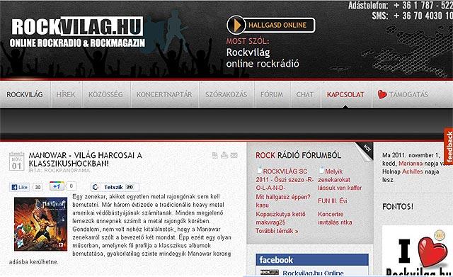 Manowar a Rockvilág holnapi műsorán!
