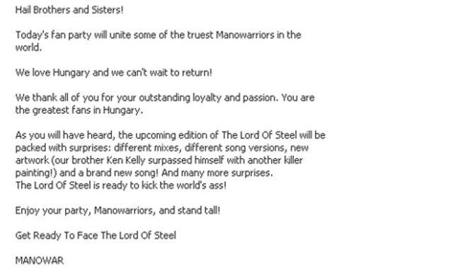 A MANOWAR üzenete a party vendégeinek